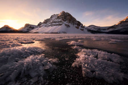 canadian rockies: Sunrise on Bow Lake in the Canadian rockies