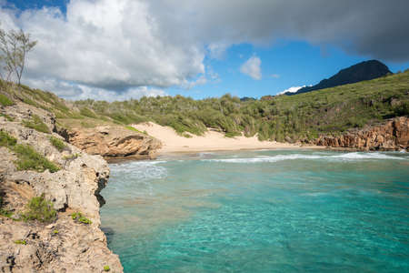 turquise: Turquise water on an empty beach in Hawaii Stock Photo