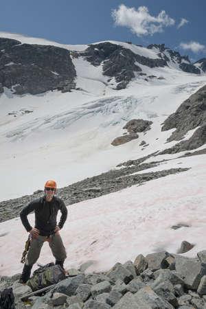 A mountain climber in the coastal range of BC Stock Photo