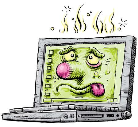 Sick Cartoon Laptop Stock Photo - 9449162