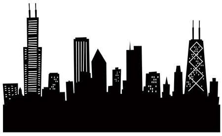 Cartoon Chicago Silhouette.