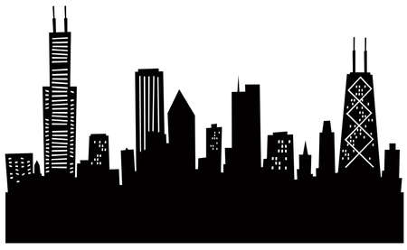 chicago skyline: Cartoon Chicago Silhouette.