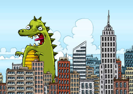 city building: Giant cartoon Monster Invades City Stock Photo
