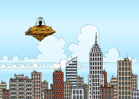 Cartoon UFO Visits Big City Фото со стока