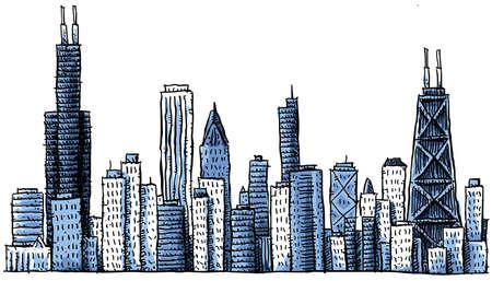 Cartoon skyline silhouette of Chicago, USA photo
