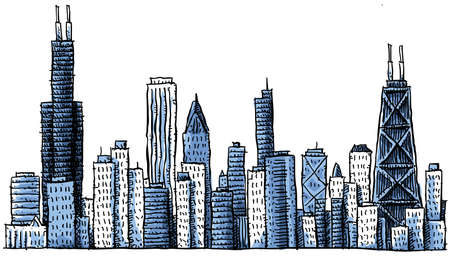 chicago skyline: Cartoon skyline silhouette of Chicago, USA