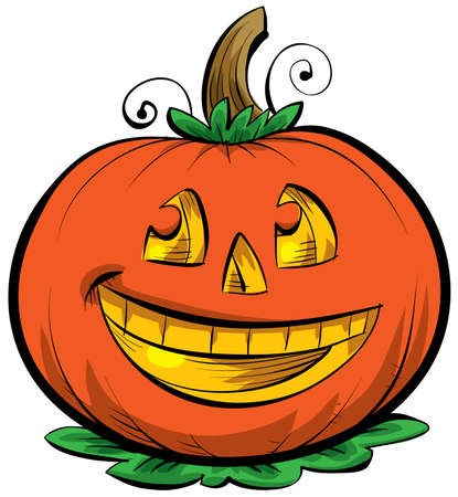 A smiling, cartoon Jack o Lantern Stock Photo