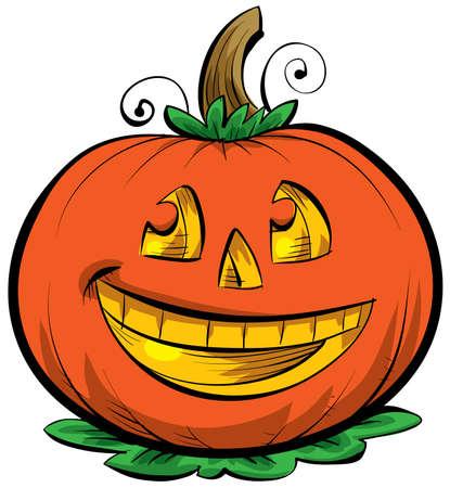 Linterna Un sonriente dibujos animados Jack o ' Foto de archivo - 9589911