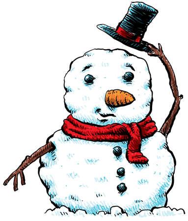 A cartoon snowman tips his hat.