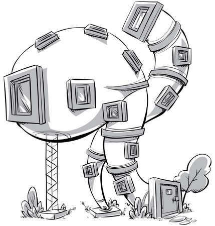 A cartoon of a modern, whimsical house.