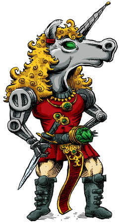 A cartoon of a cyborg unicorn who is a knight. photo