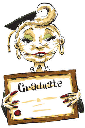 A cartoon of a woman with a bad facelift who has just graduated,