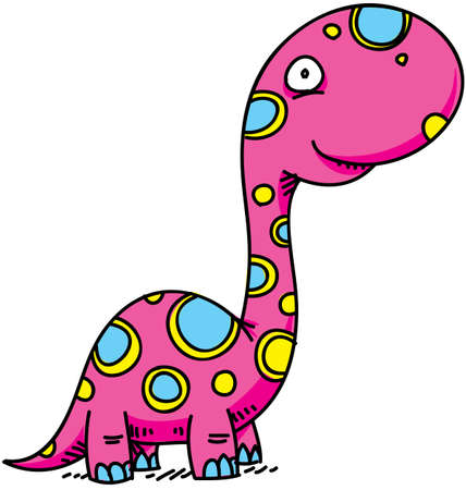 brontosaurus: A cute, cartoon dinosauro rosa.