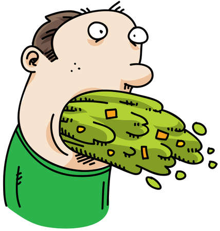 A cartoon man with a mouth full of vomit. Stockfoto
