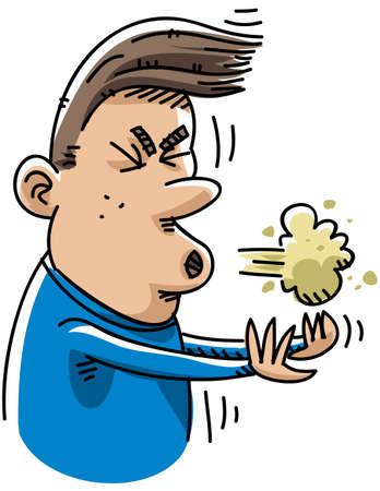 estornudo: Un hombre de dibujos animados estornuda.
