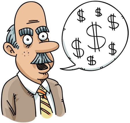 A cartoon businessman talks money.