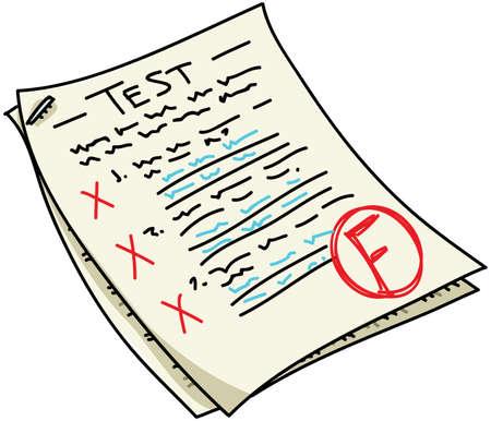 Een cartoon test met een F resultaat.
