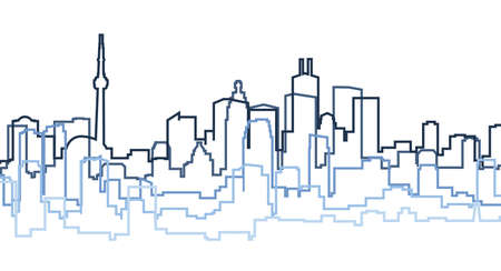 city building: A skyline silhouette of the city of Toronto, Canada.