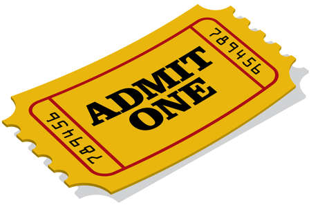 admit: A yellow admission ticket.