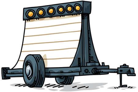 A cartoon sign trailer. Stok Fotoğraf