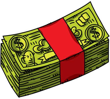 A cartoon wad of cash. Stock Photo