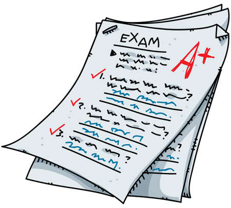 test paper: A cartoon exam with an excellent mark.