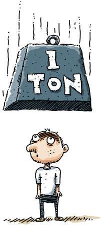 accident cartoon: A weight falls towards an unfortunate cartoon man.