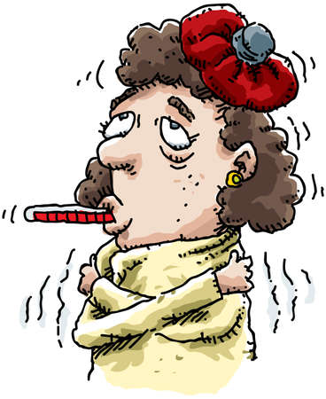 A cartoon of a sick woman with a thermometer in her mouth.
