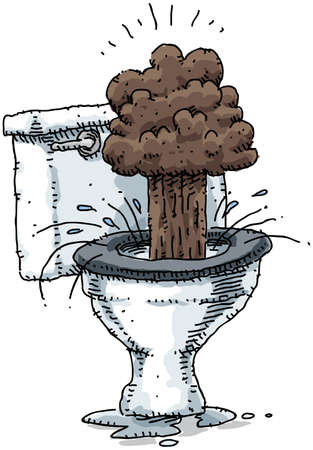 potty: The contents of a toilet explode.