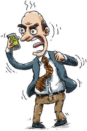 jefe enojado: Un hombre de negocios enojado le grita a su teléfono móvil. Foto de archivo