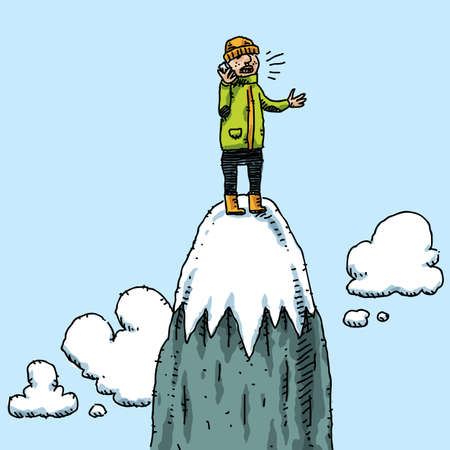 telephone cartoon: A climber takes a mobile phone call on top of a mountain. Stock Photo