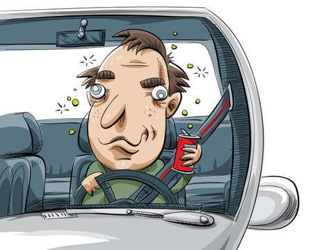 A cartoon man driving drunk.