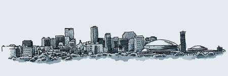 new orleans: Illustration of the skyline of the city of New Orleans, USA.