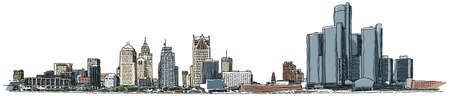 Illustration of the Detroit waterfront skyline.