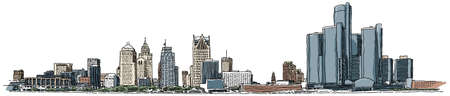 Illustration of the Detroit waterfront skyline.