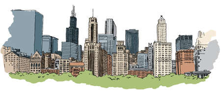 Illustration of a portion of the Chicago skyline.