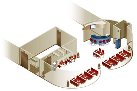 restaurant interior design: A cutaway image showing the interior layout of a restaurant.