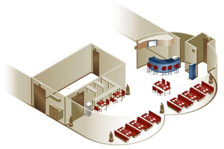 Een cutaway afbeelding met de indeling van het interieur van een restaurant. Stockfoto