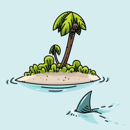 A cartoon shark swims past a tiny, tropical island. Stockfoto