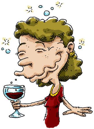 漫画の女性は赤ワインのガラスから話題を取得します。 写真素材 - 11431493