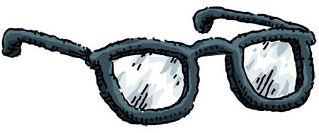 eyeglass: A cartoon pair of thick plastic-framed eyeglasses.