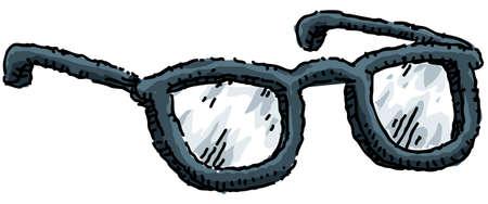 specs: A cartoon pair of thick plastic-framed eyeglasses.