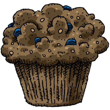 blueberry muffin: A cartoon, blueberry bran muffin.