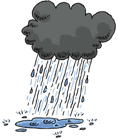 rain cartoon: A dark, cartoon cloud rains and creates a puddle.
