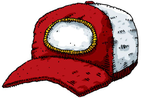 brim: A red, cartoon baseball cap.