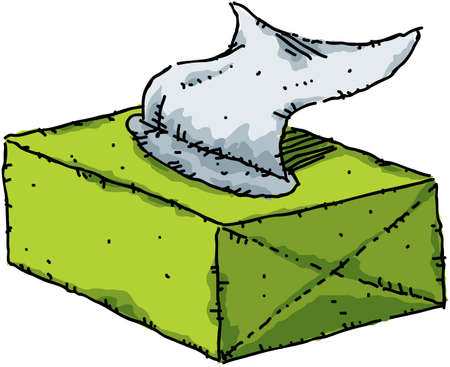 Een cartoon doos tissues.