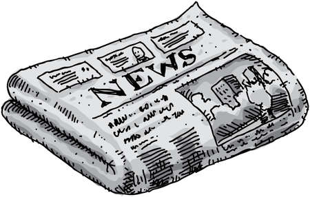 Een cartoon krant rapporteren van gebeurtenissen. Stockfoto