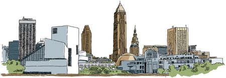 Skyline illustration of the city of Cleveland, Ohio, USA.
