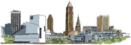 Skyline illustration of the city of Cleveland, Ohio, USA. illustration