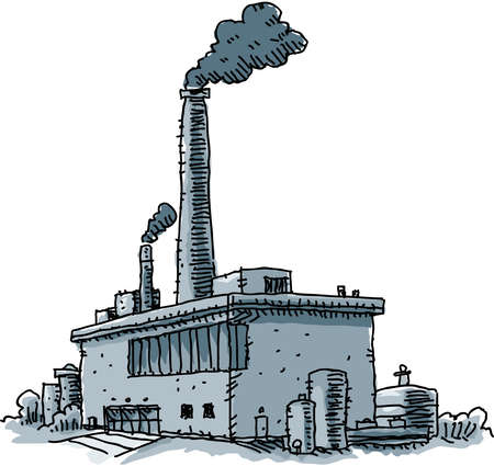 Smoke billows from the smokestacks of a cartoon factory.